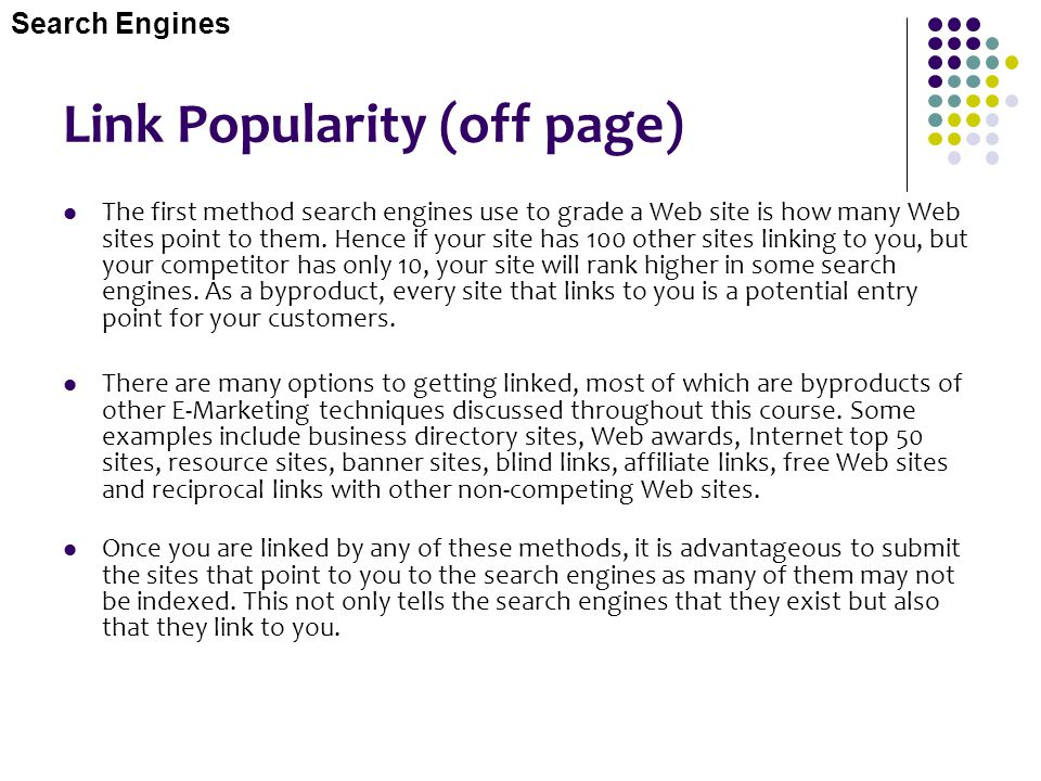 Link Popularity (off page)
