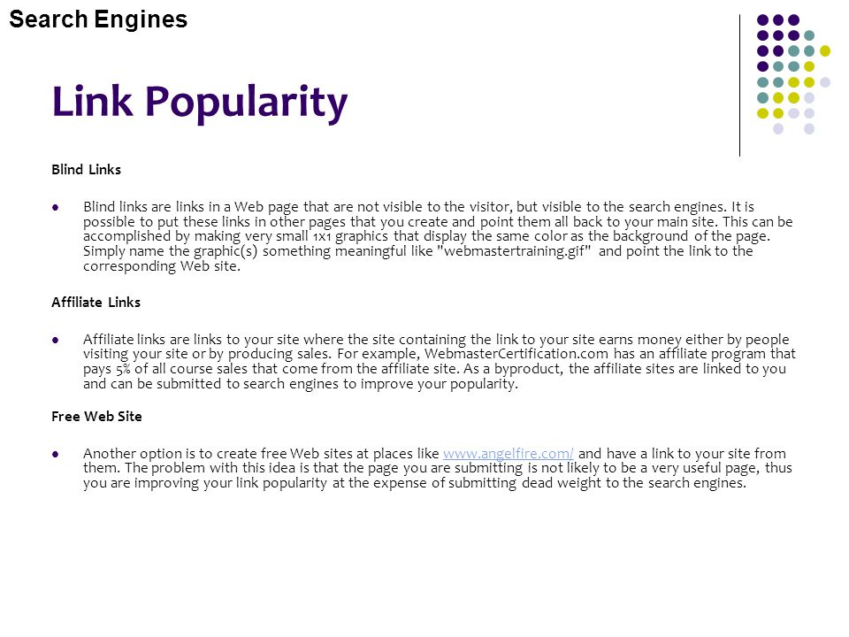 Link Popularity Search Engines Blind Links