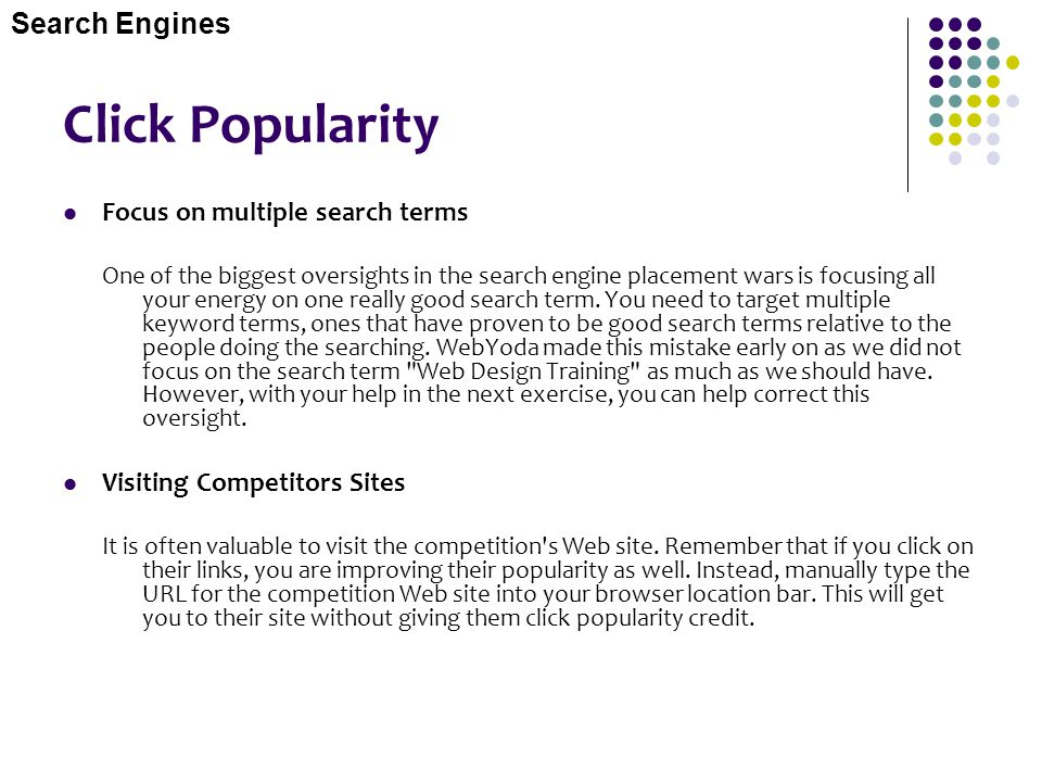 Click Popularity Search Engines Focus on multiple search terms