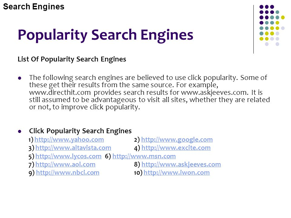 Popularity Search Engines