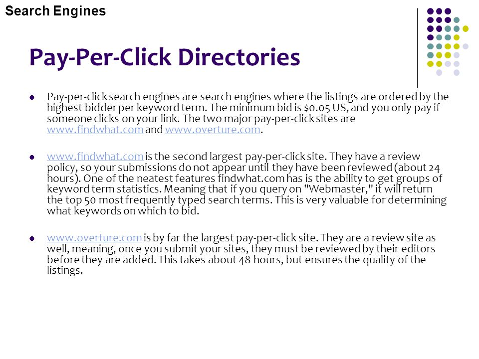 Pay-Per-Click Directories