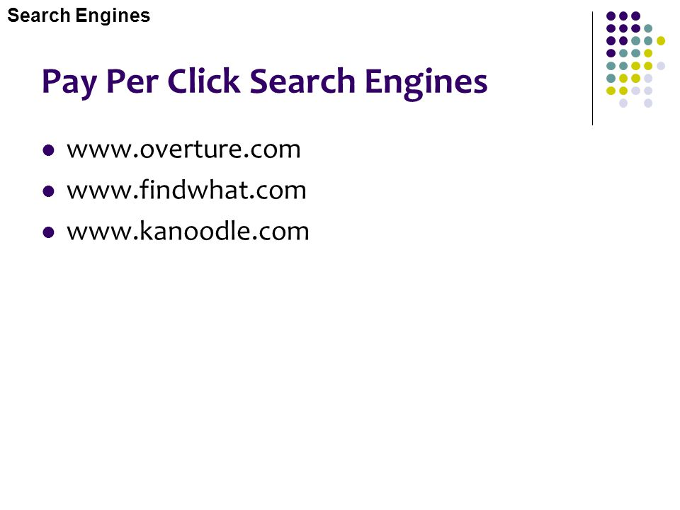 Pay Per Click Search Engines