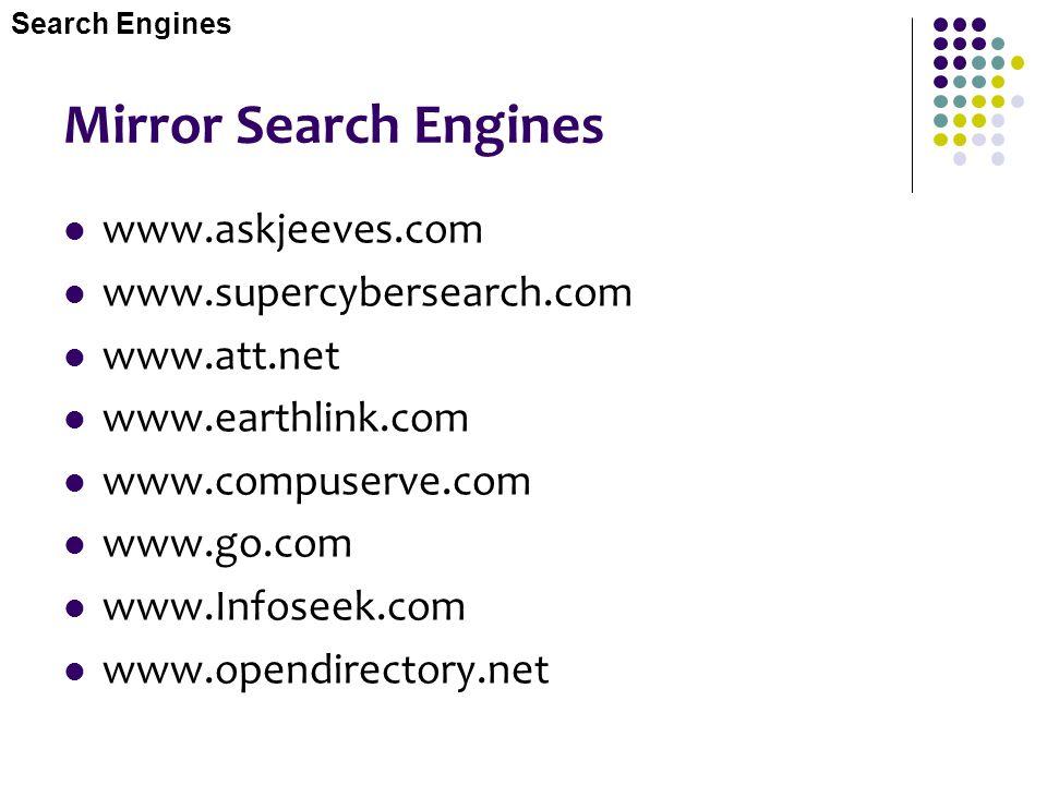 Mirror Search Engines www.askjeeves.com www.supercybersearch.com