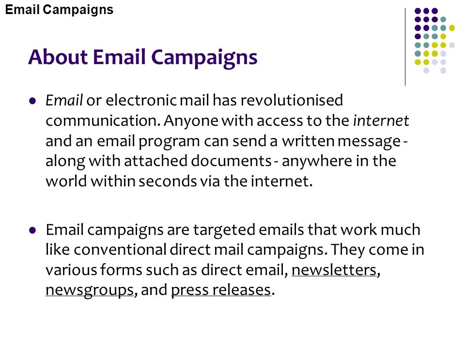Email Campaigns About Email Campaigns.