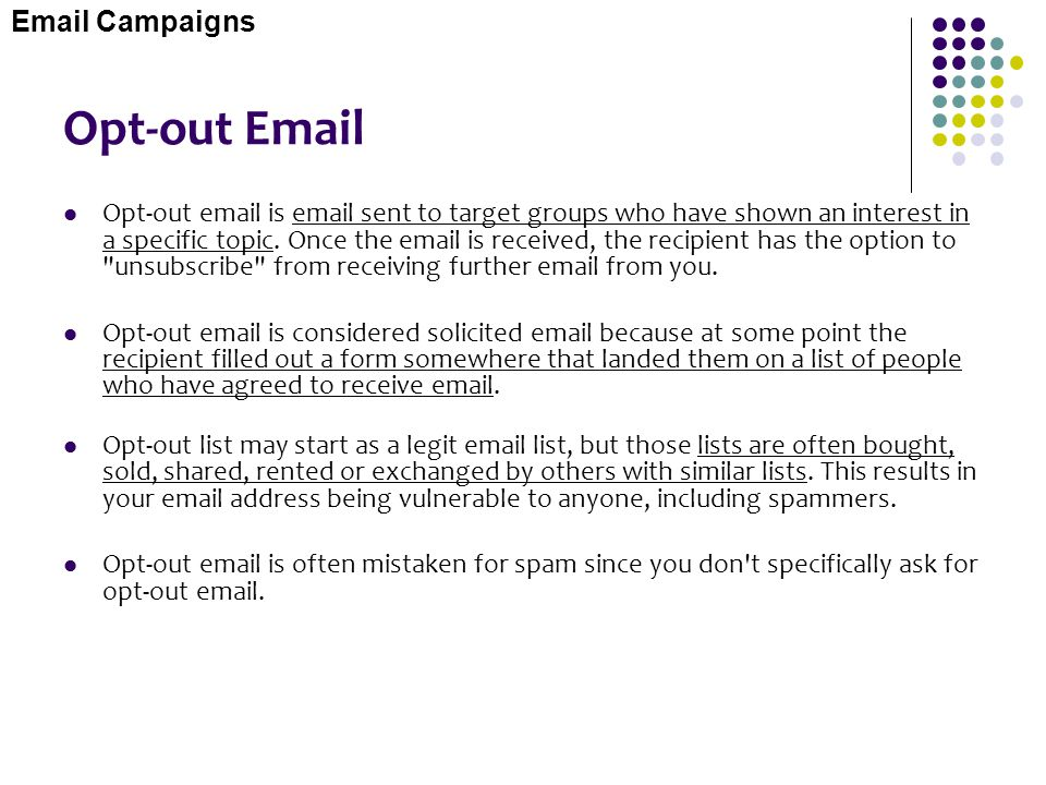Opt-out Email Email Campaigns