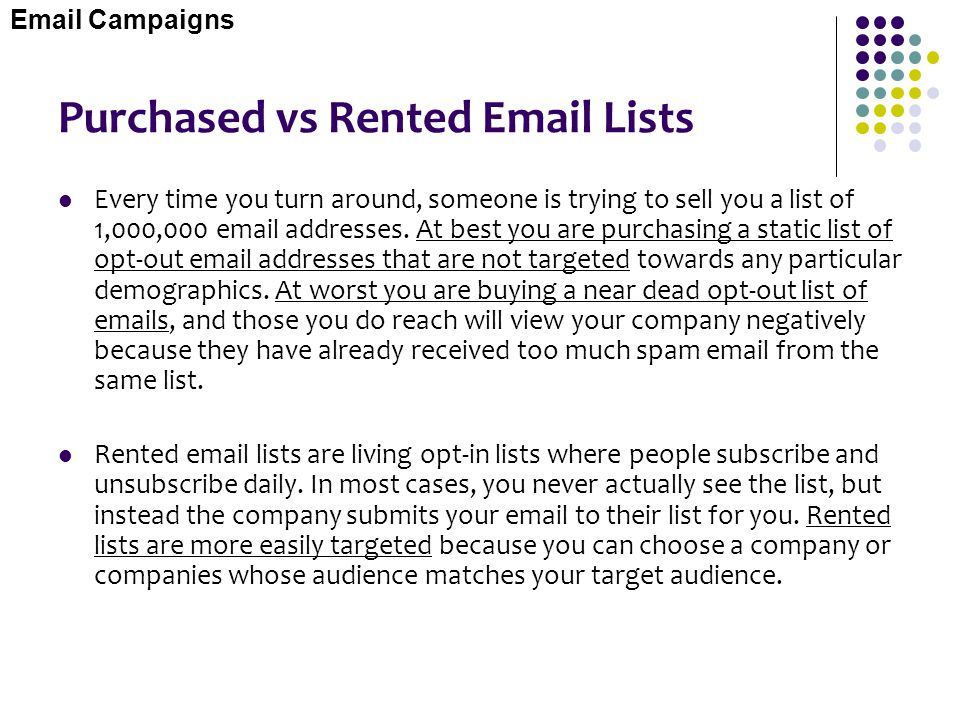Purchased vs Rented Email Lists