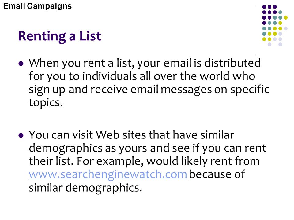 Email Campaigns Renting a List.