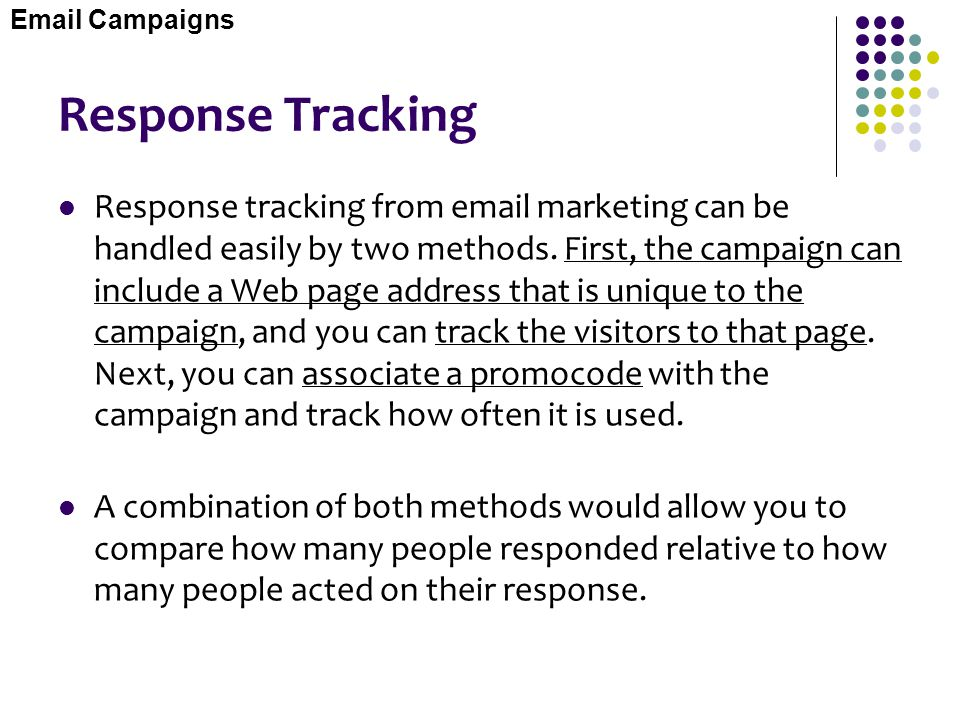 Email Campaigns Response Tracking.