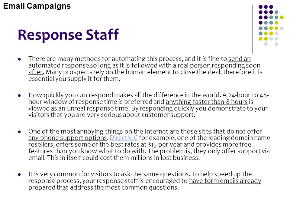 Response Staff Email Campaigns