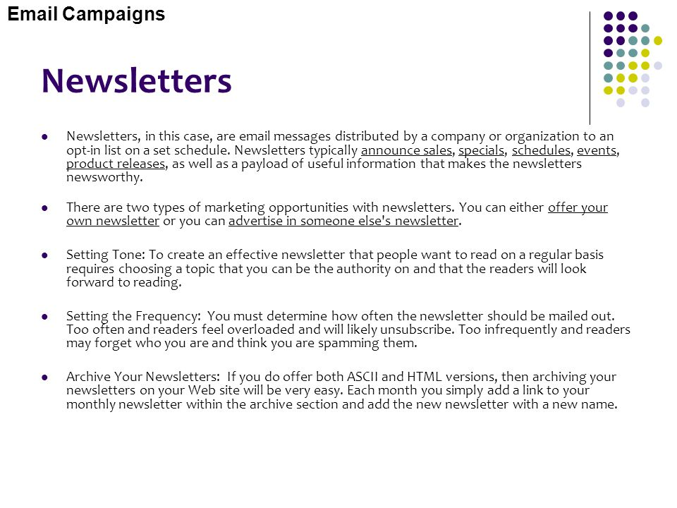 Newsletters Email Campaigns