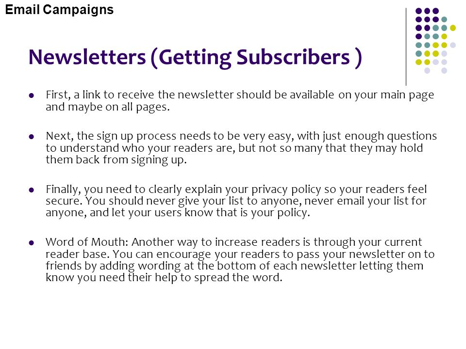 Newsletters (Getting Subscribers )