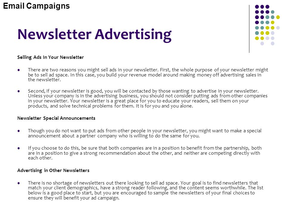 Newsletter Advertising