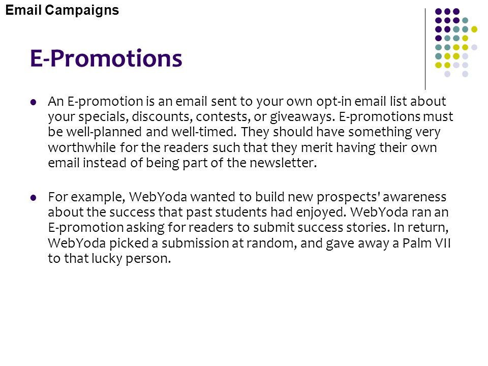 Email Campaigns E-Promotions.