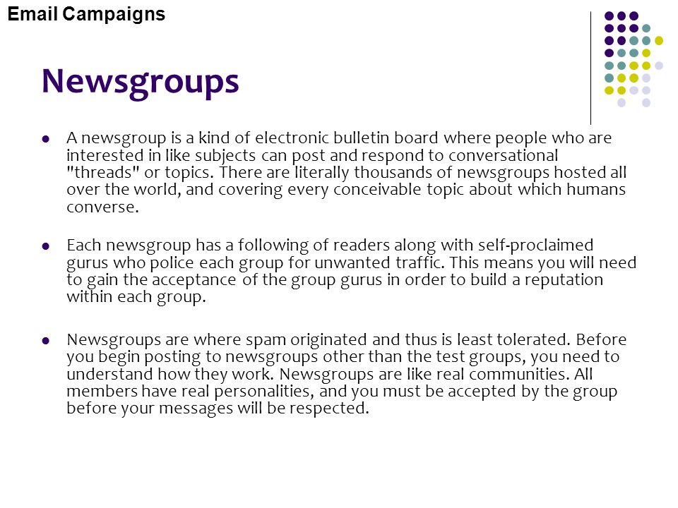 Newsgroups  Campaigns