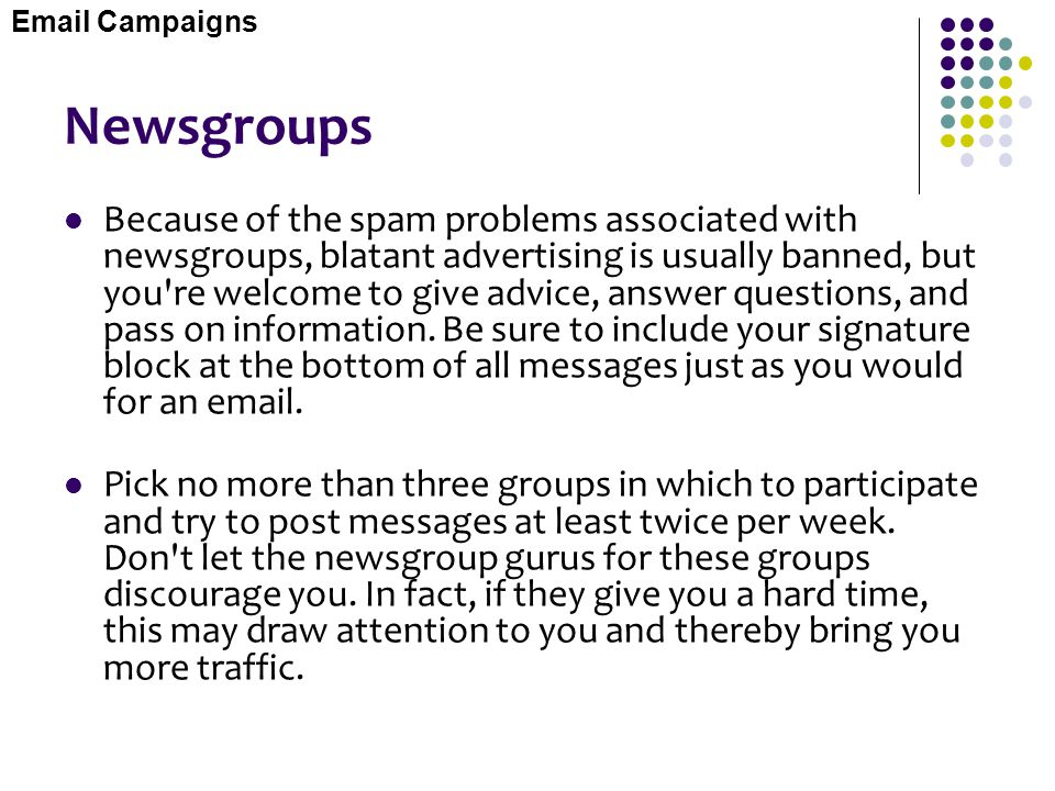 Email Campaigns Newsgroups.