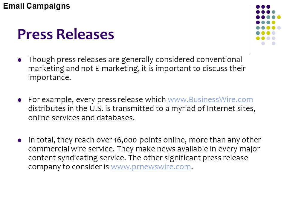 Email Campaigns Press Releases.