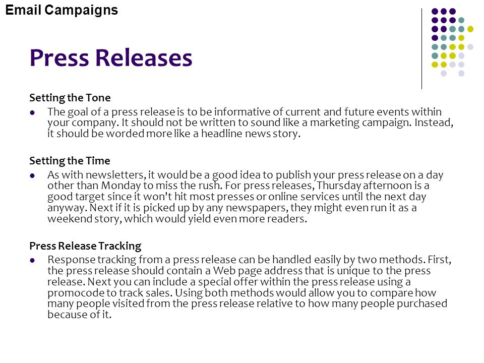 Press Releases Email Campaigns Setting the Tone