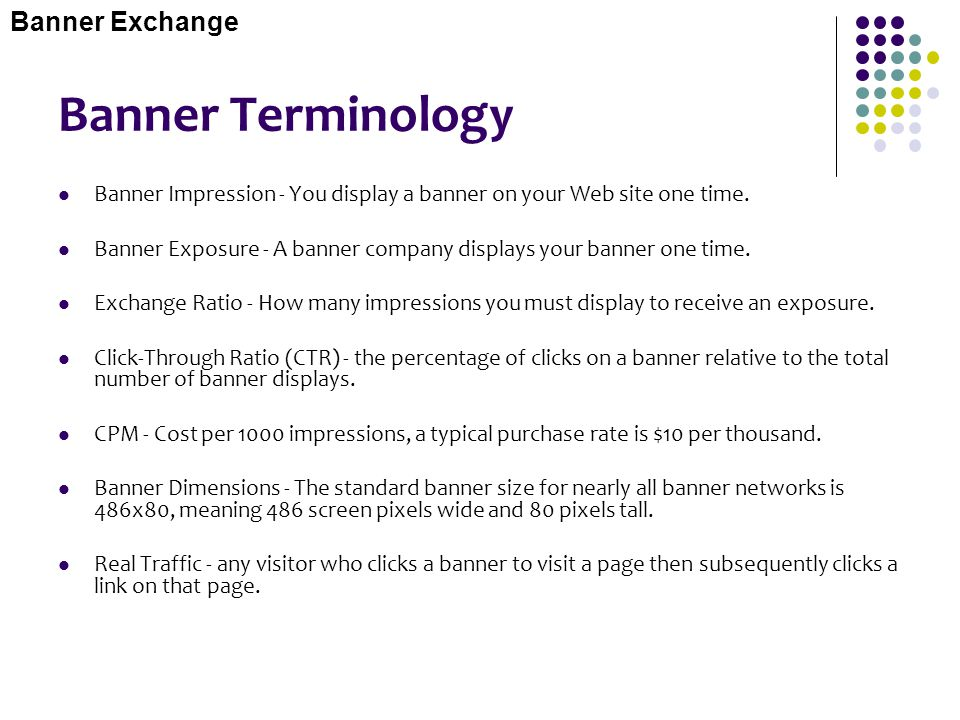 Banner Terminology Banner Exchange