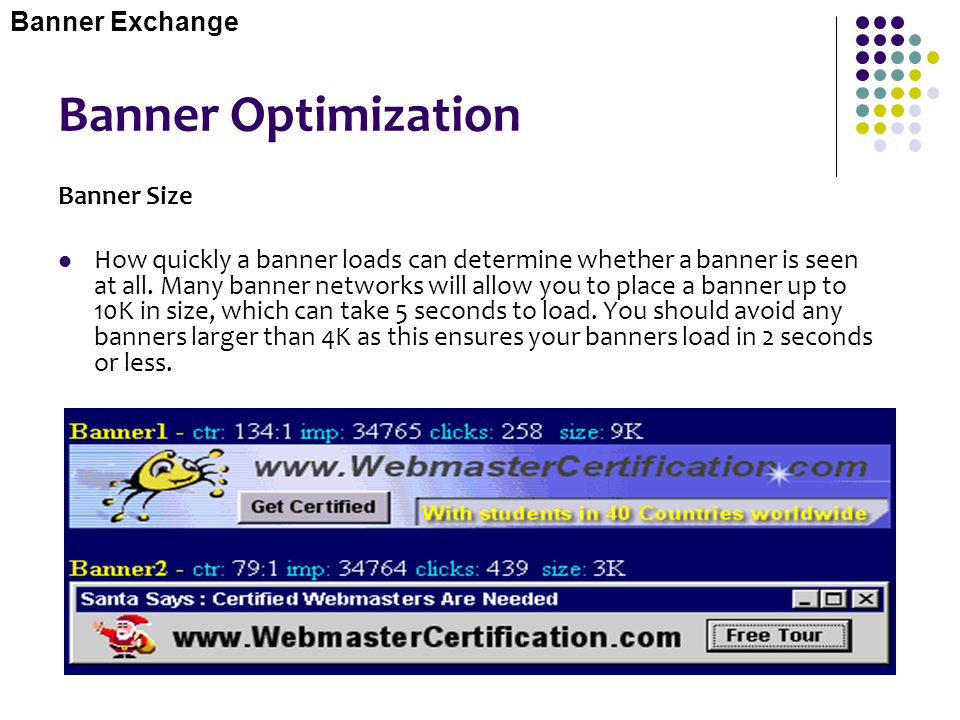 Banner Optimization Banner Exchange Banner Size