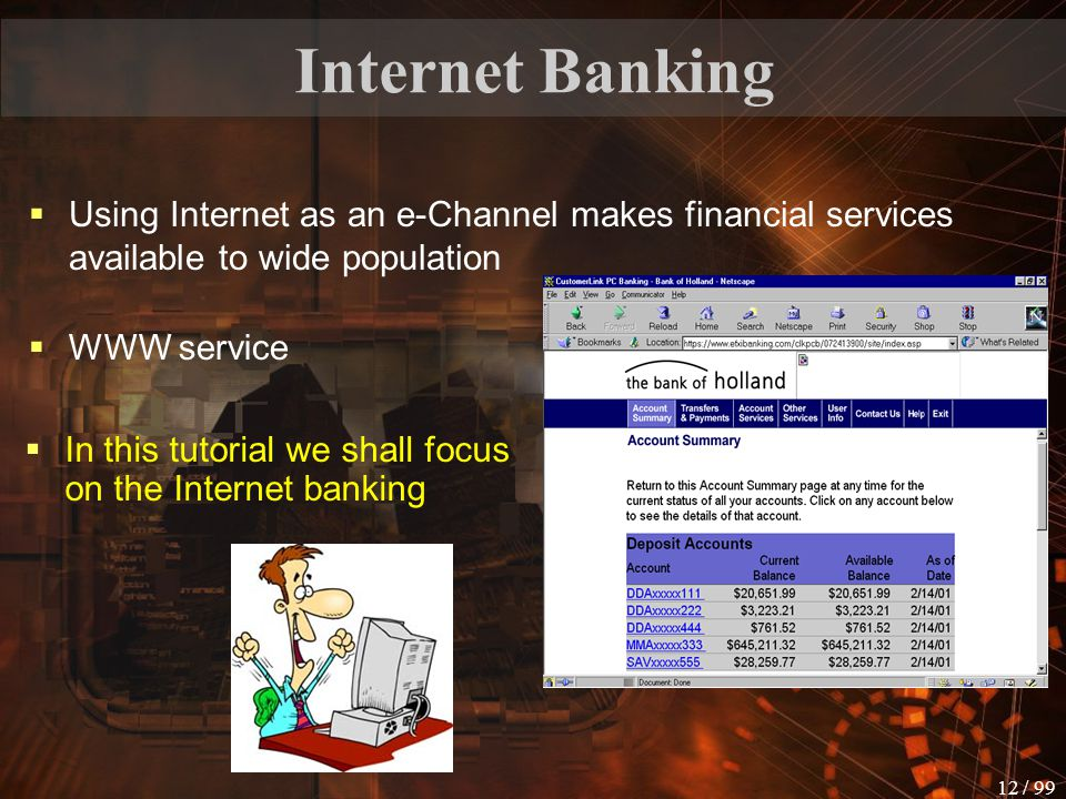 Internet Banking Using Internet as an e-Channel makes financial services available to wide population.