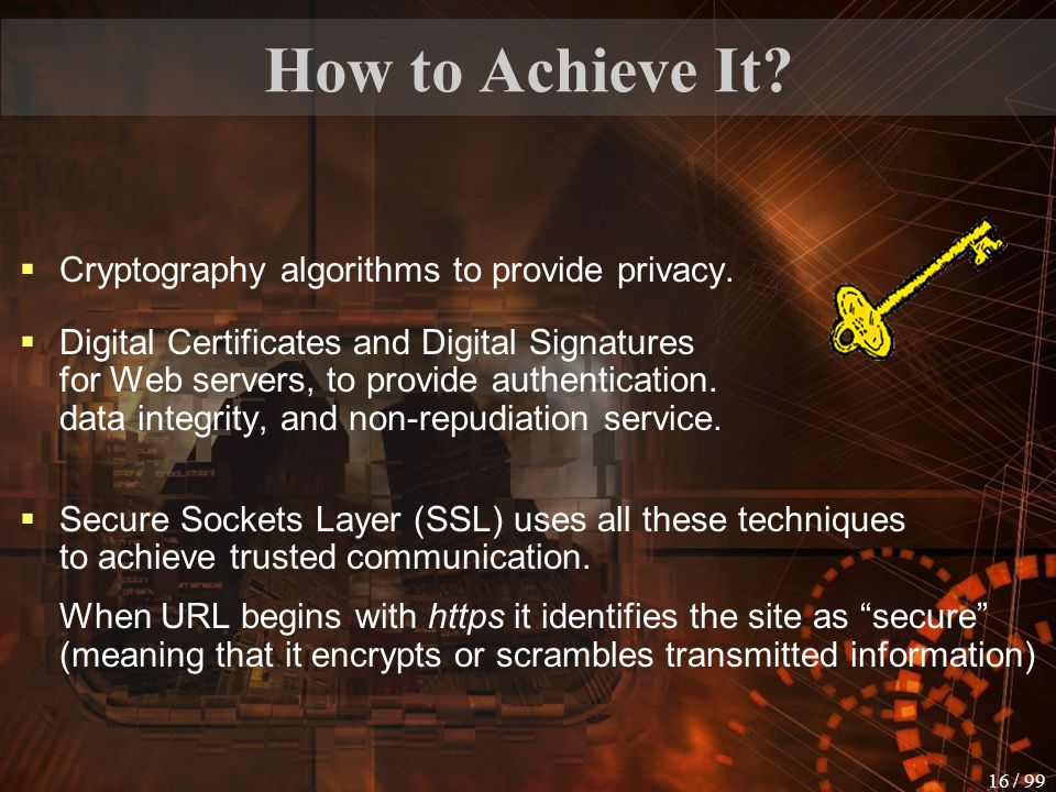 How to Achieve It Cryptography algorithms to provide privacy.