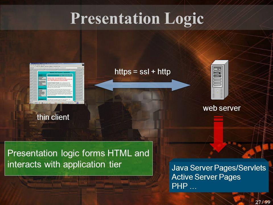 Presentation Logic web server. thin client. https = ssl + http. Java Server Pages/Servlets. Active Server Pages.