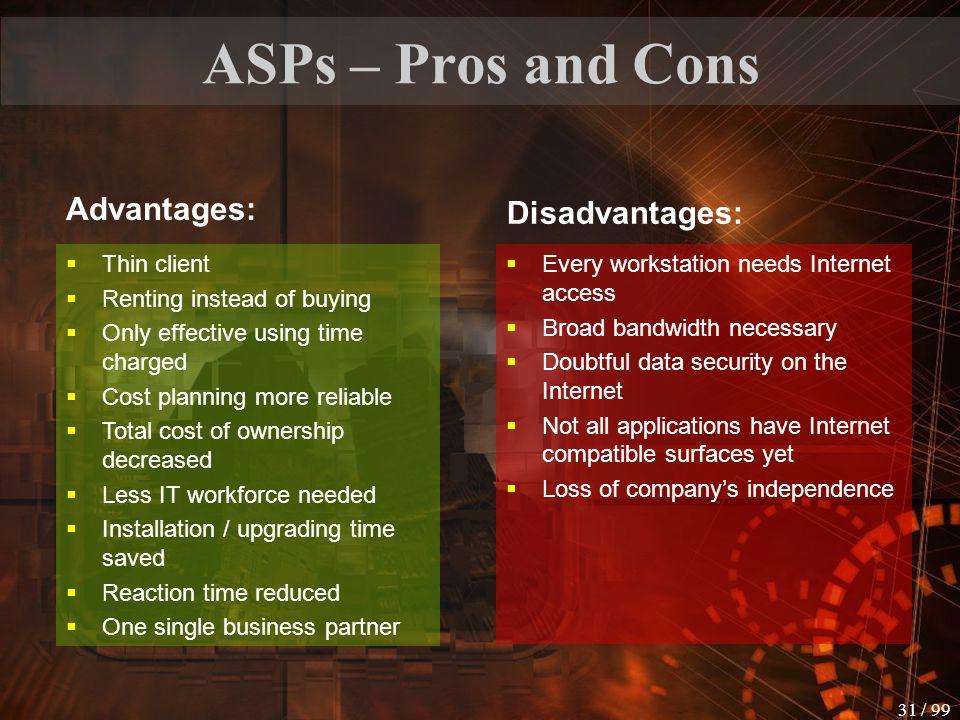 ASPs – Pros and Cons Advantages: Disadvantages: Thin client