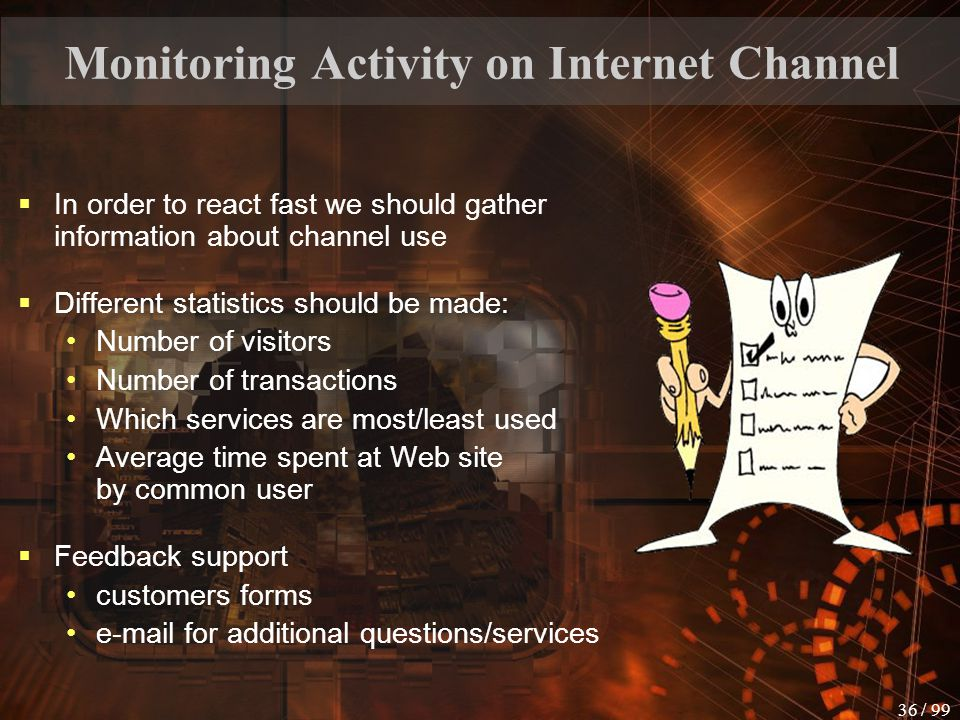 Monitoring Activity on Internet Channel