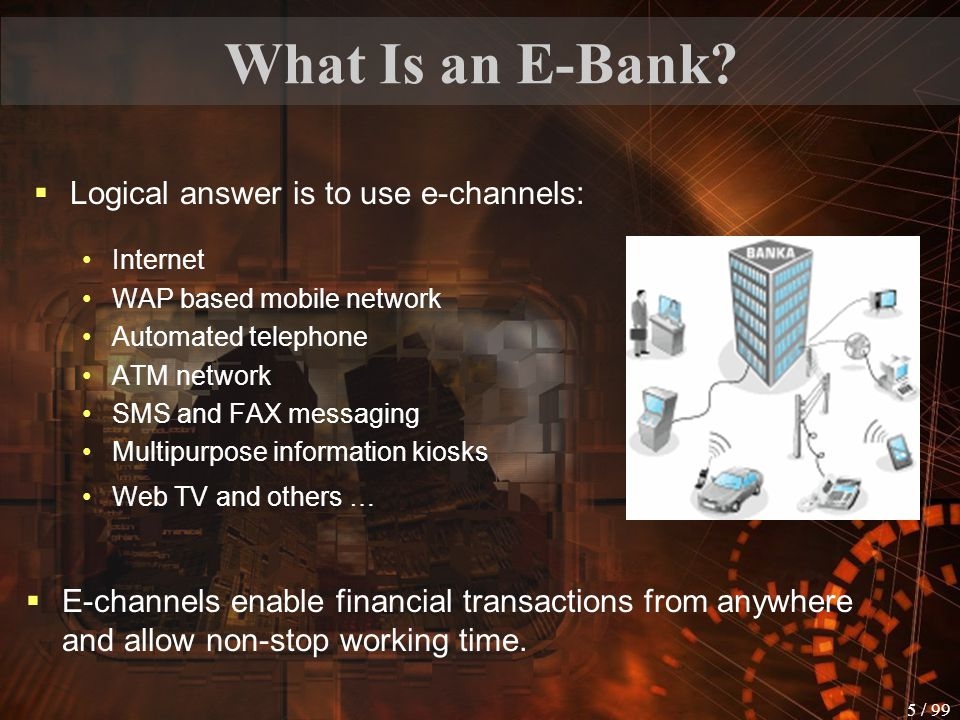 What Is an E-Bank Logical answer is to use e-channels: