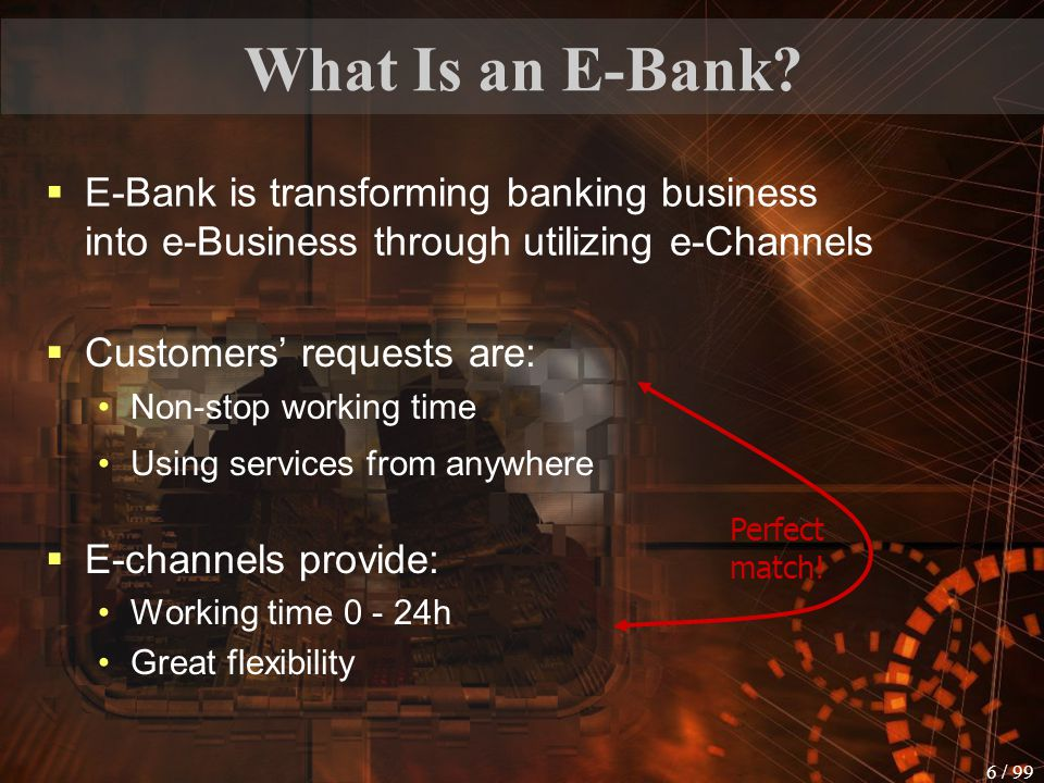 What Is an E-Bank E-Bank is transforming banking business into e-Business through utilizing e-Channels.
