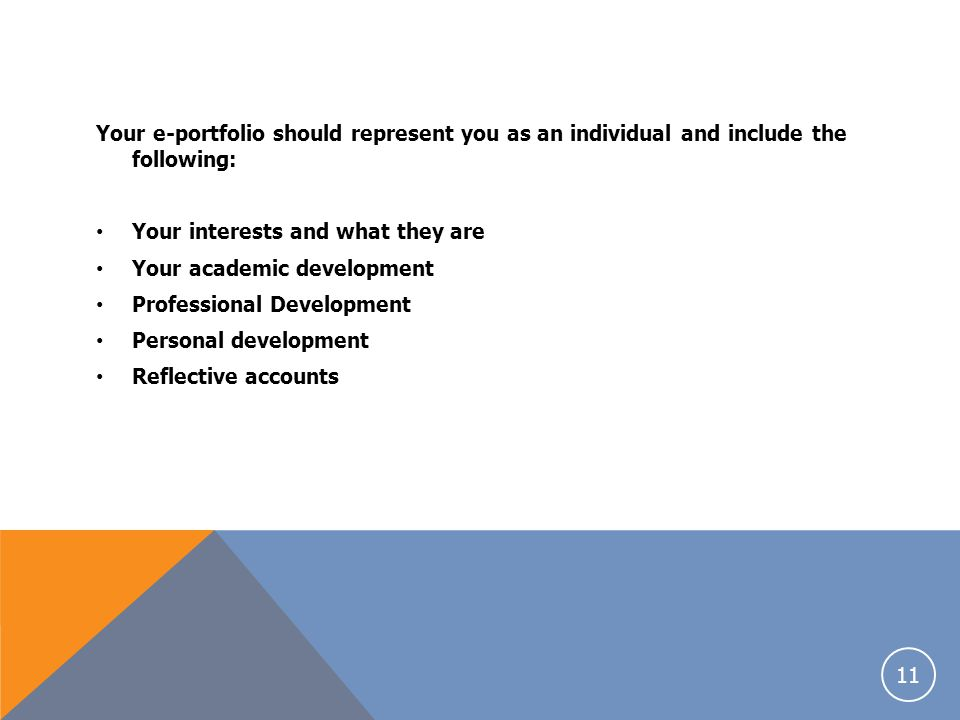 Your e-portfolio should represent you as an individual and include the following: