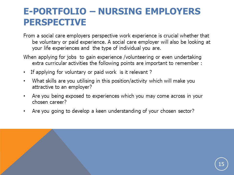 E-PORTFOLIO – NURSING EMPLOYERS PERSPECTIVE