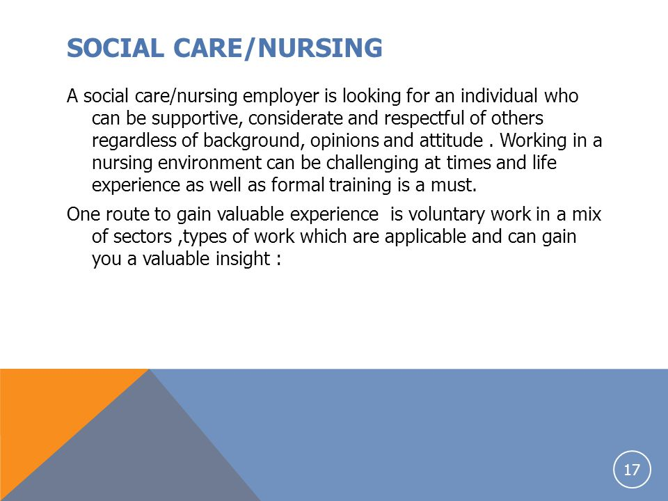 SOCIAL CARE/NURSING