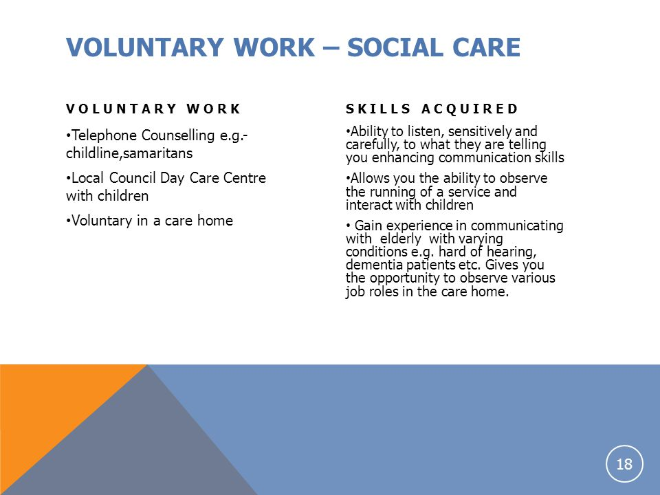 VOLUNTARY WORK – SOCIAL CARE
