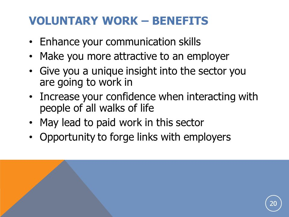 VOLUNTARY WORK – BENEFITS