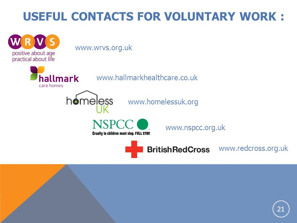 USEFUL CONTACTS FOR VOLUNTARY WORK :