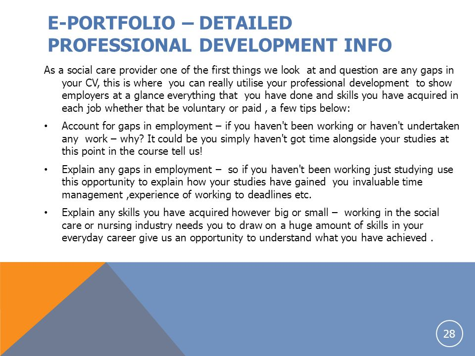 E-PORTFOLIO – DETAILED PROFESSIONAL DEVELOPMENT INFO
