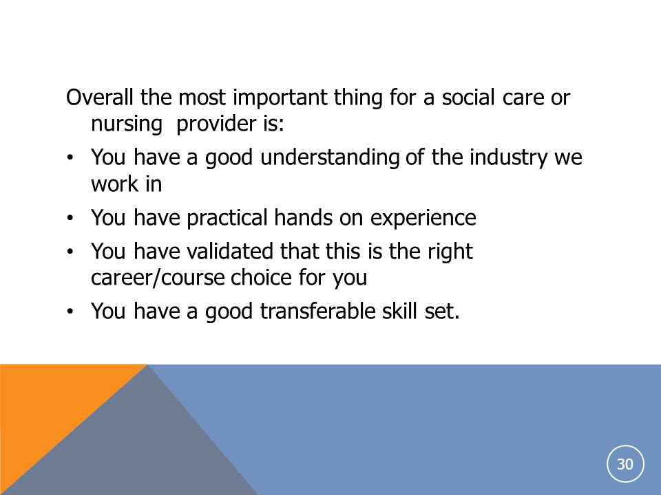 Overall the most important thing for a social care or nursing provider is:
