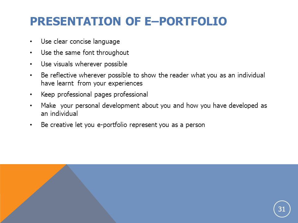 PRESENTATION OF E–PORTFOLIO