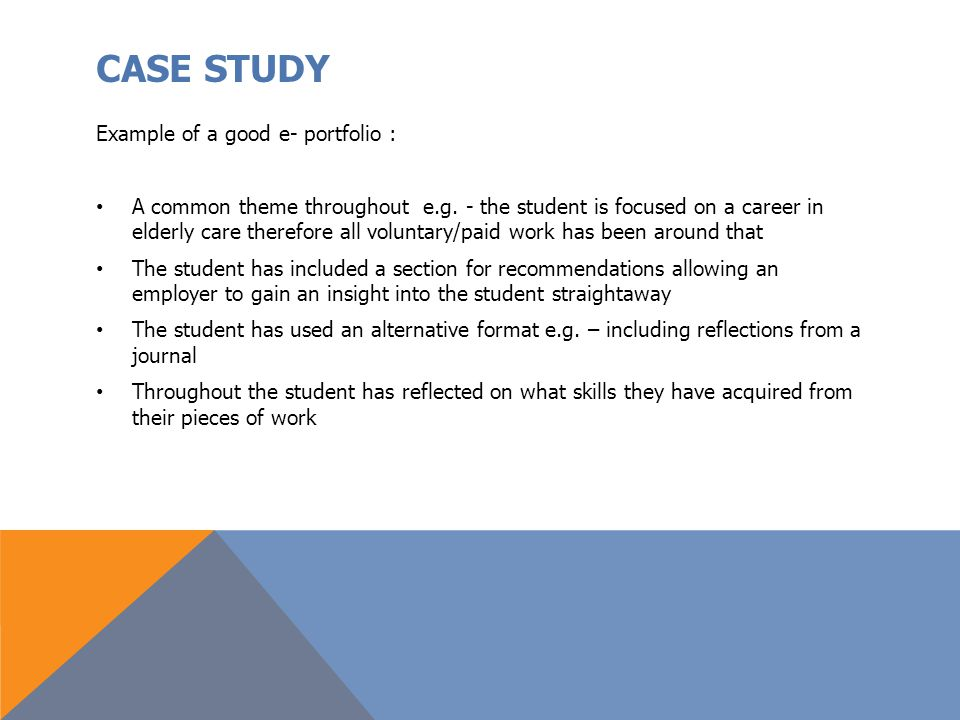 CASE STUDY Example of a good e- portfolio :