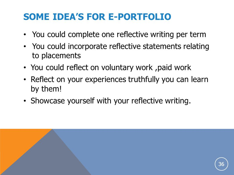 SOME IDEA'S FOR E-PORTFOLIO
