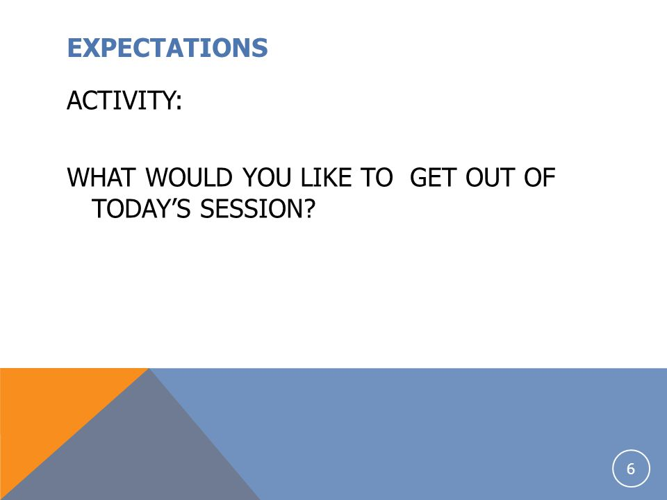 EXPECTATIONS ACTIVITY: WHAT WOULD YOU LIKE TO GET OUT OF TODAY'S SESSION