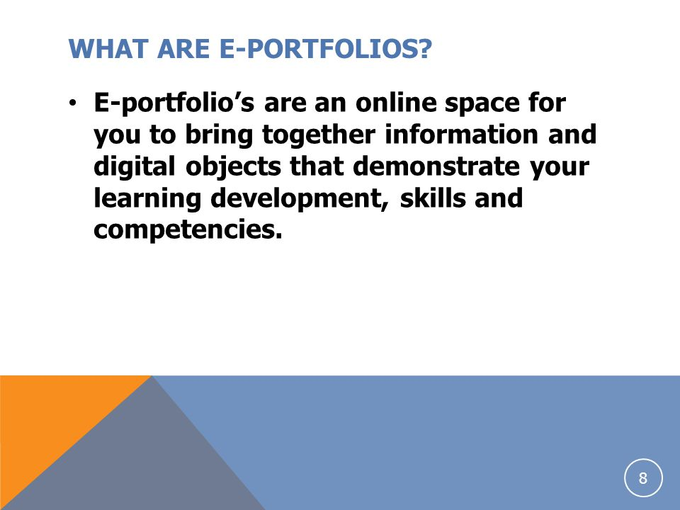 WHAT ARE E-PORTFOLIOS