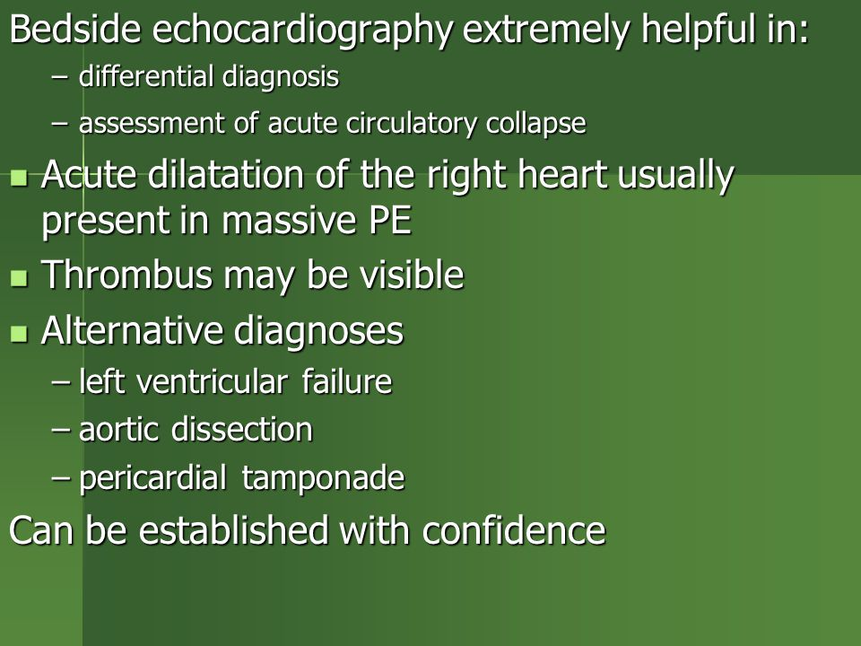 Bedside echocardiography extremely helpful in: