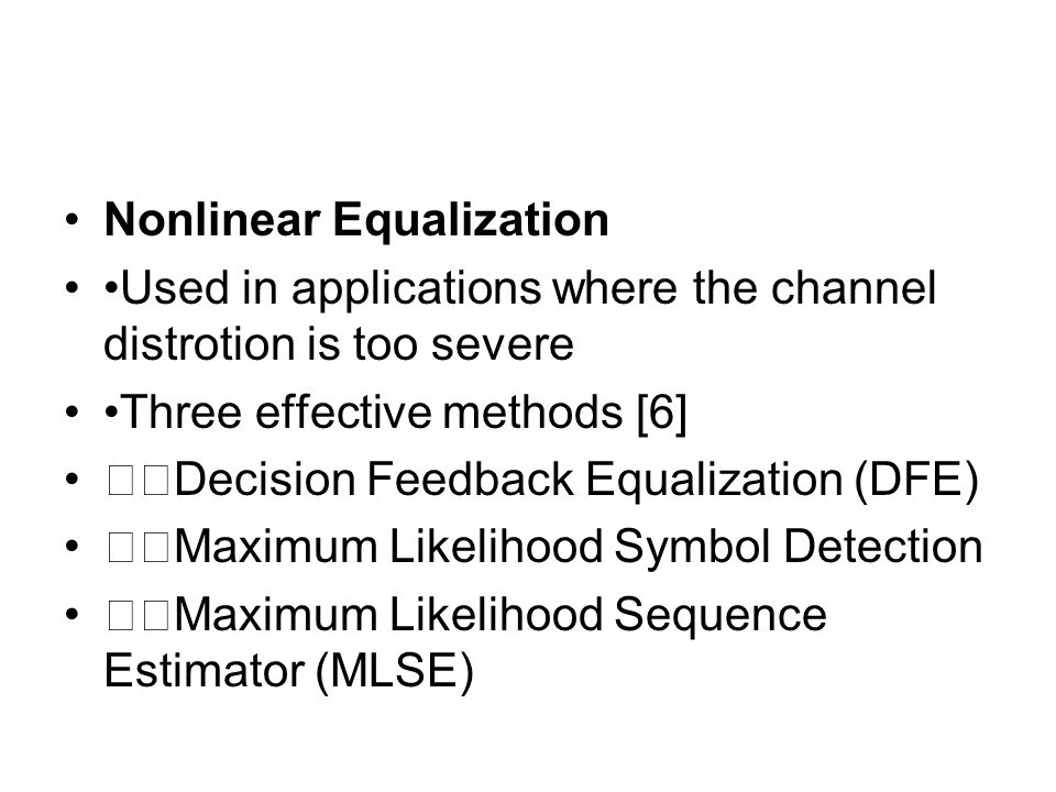 Nonlinear Equalization