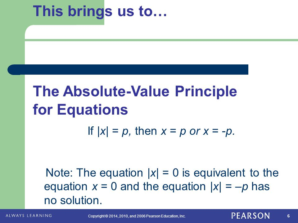 The Absolute-Value Principle for Equations