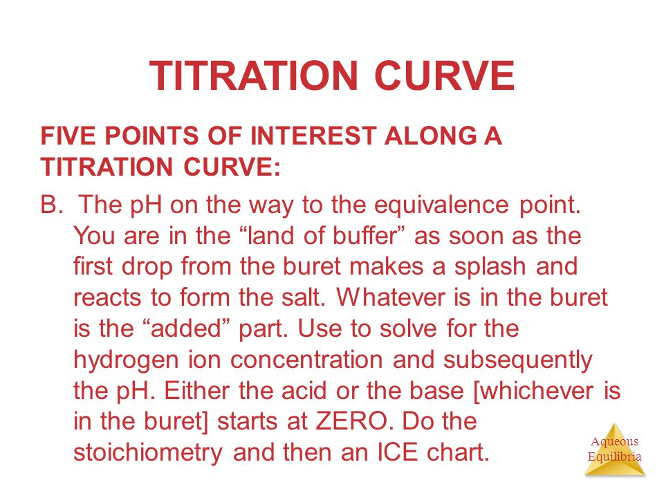 TITRATION CURVE FIVE POINTS OF INTEREST ALONG A TITRATION CURVE: