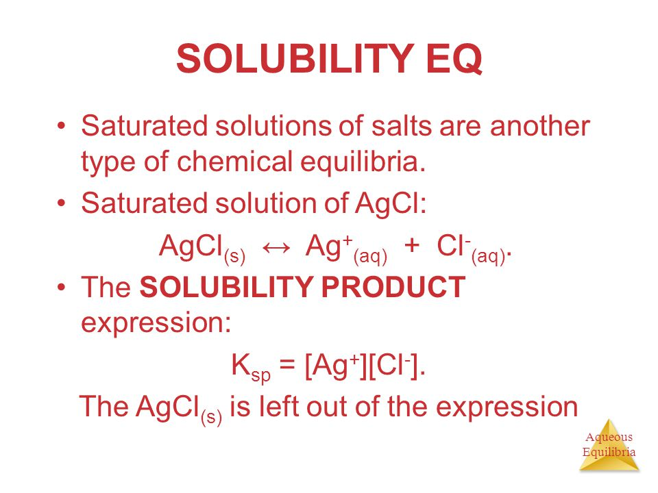 SOLUBILITY EQ Saturated solutions of salts are another type of chemical equilibria. Saturated solution of AgCl:
