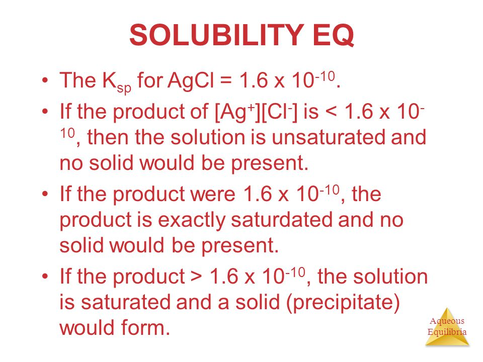 SOLUBILITY EQ The Ksp for AgCl = 1.6 x