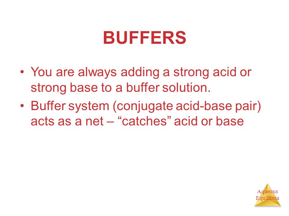 BUFFERS You are always adding a strong acid or strong base to a buffer solution.